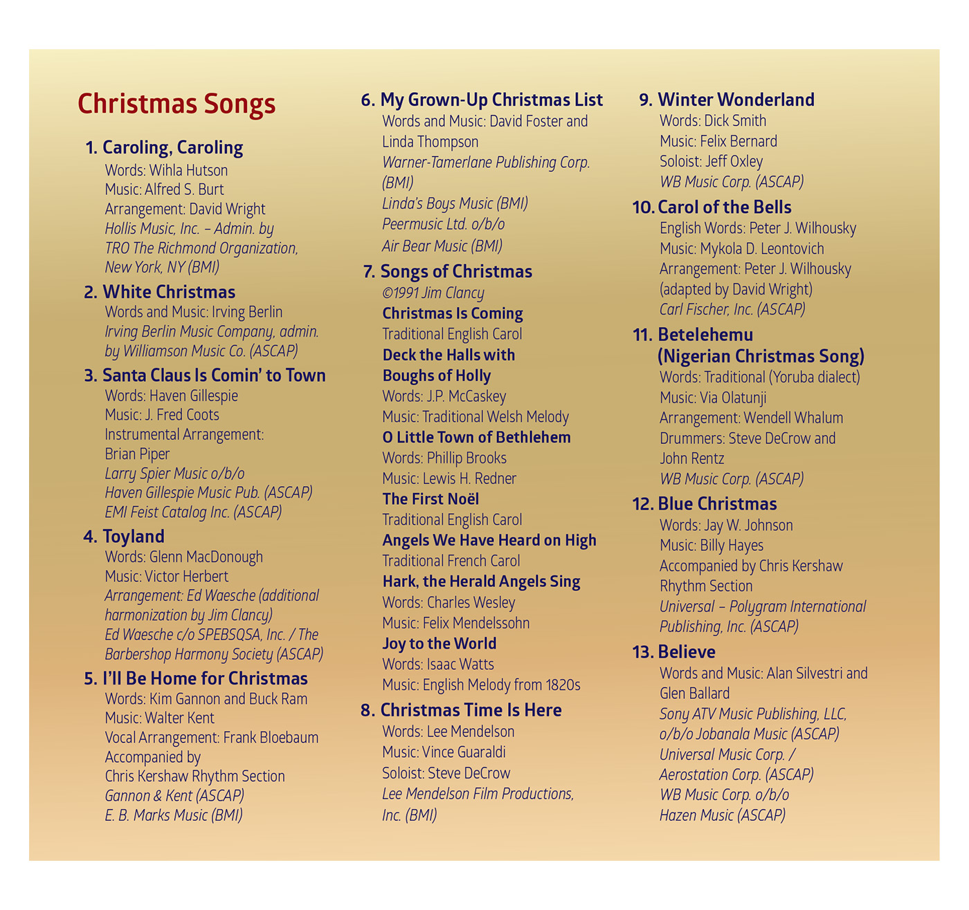 Song List CD 1: Comfort & Joy