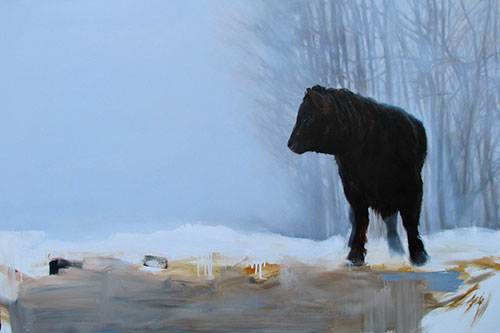"SOLD Black Angus 48"" x 60"""
