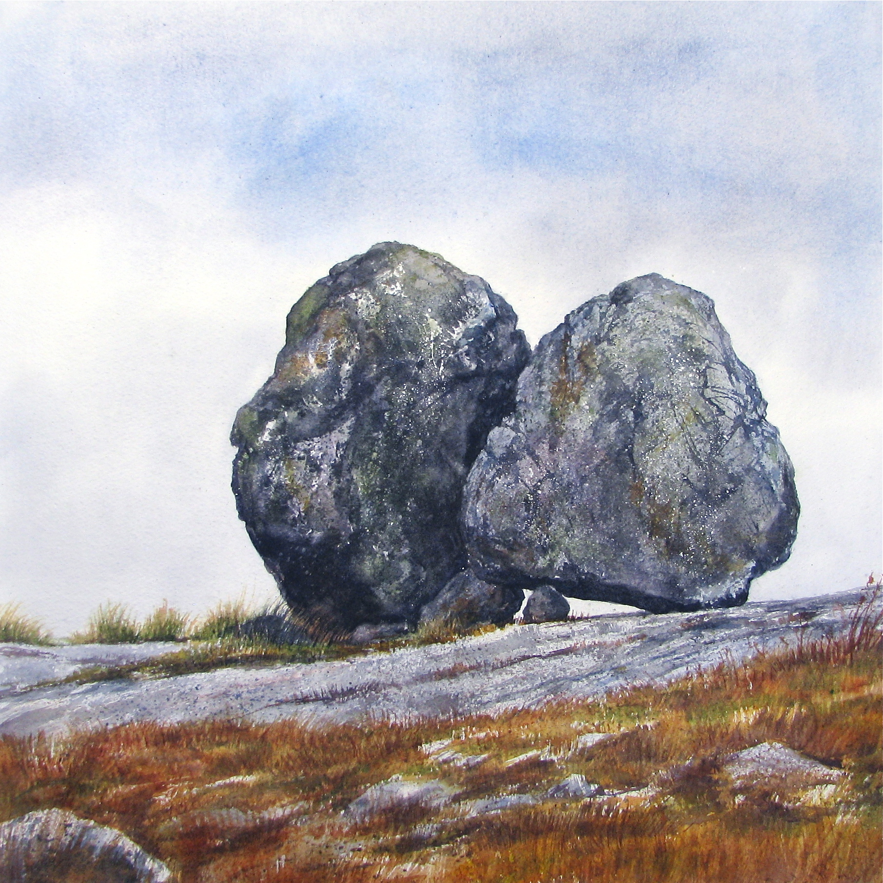 The Weight of A Stone , watercolour $1200   Watch The Video