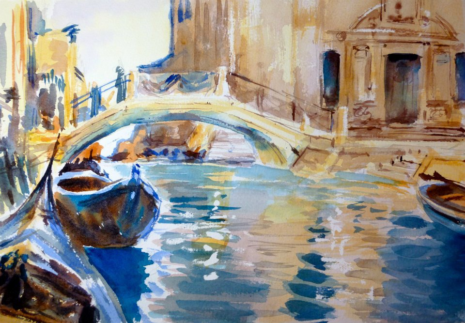 """My reproduction of""""Venice Canal"""" - original by John Singer Sargent watercolor"""
