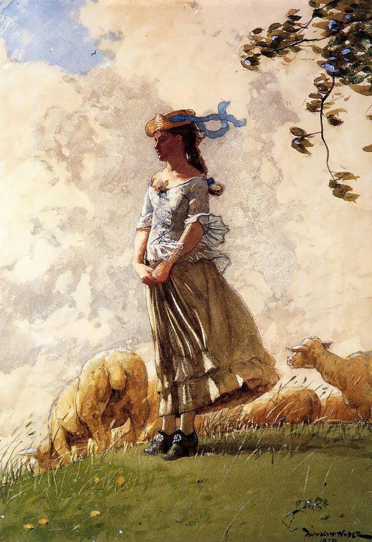 'Fresh Air', original watercolor by Winslow Homer