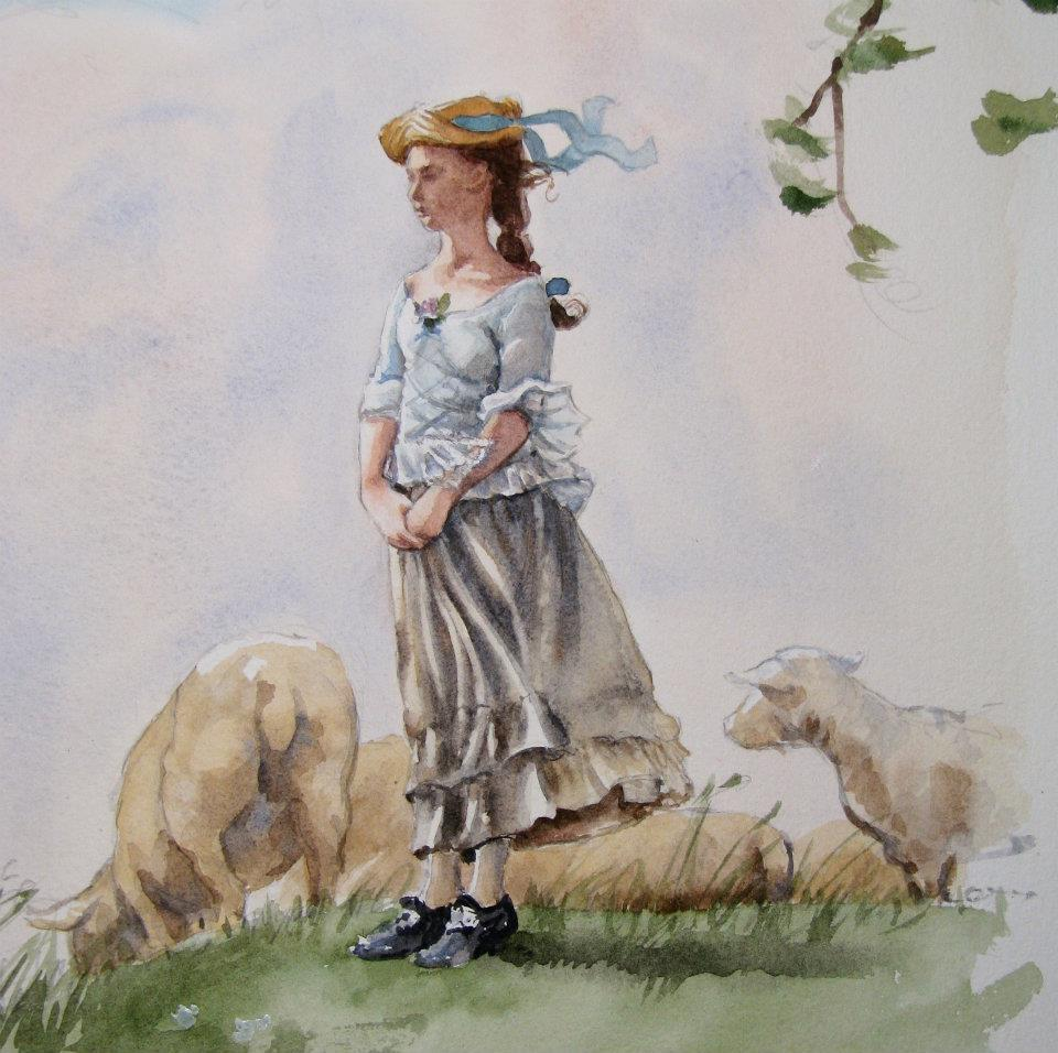 My reproduction of'Fresh Air', an original watercolor by Winslow Homer