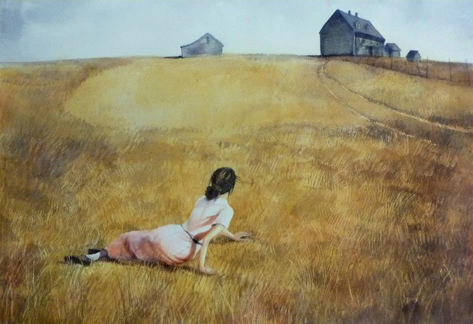 My reproduction of Christina's World, by Andrew Wyeth. This one is done in watercolour