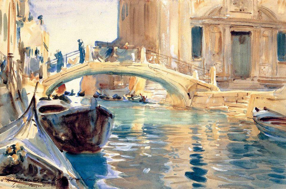 """""""Venice Canal"""" An original John Singer Sargent watercolor"""
