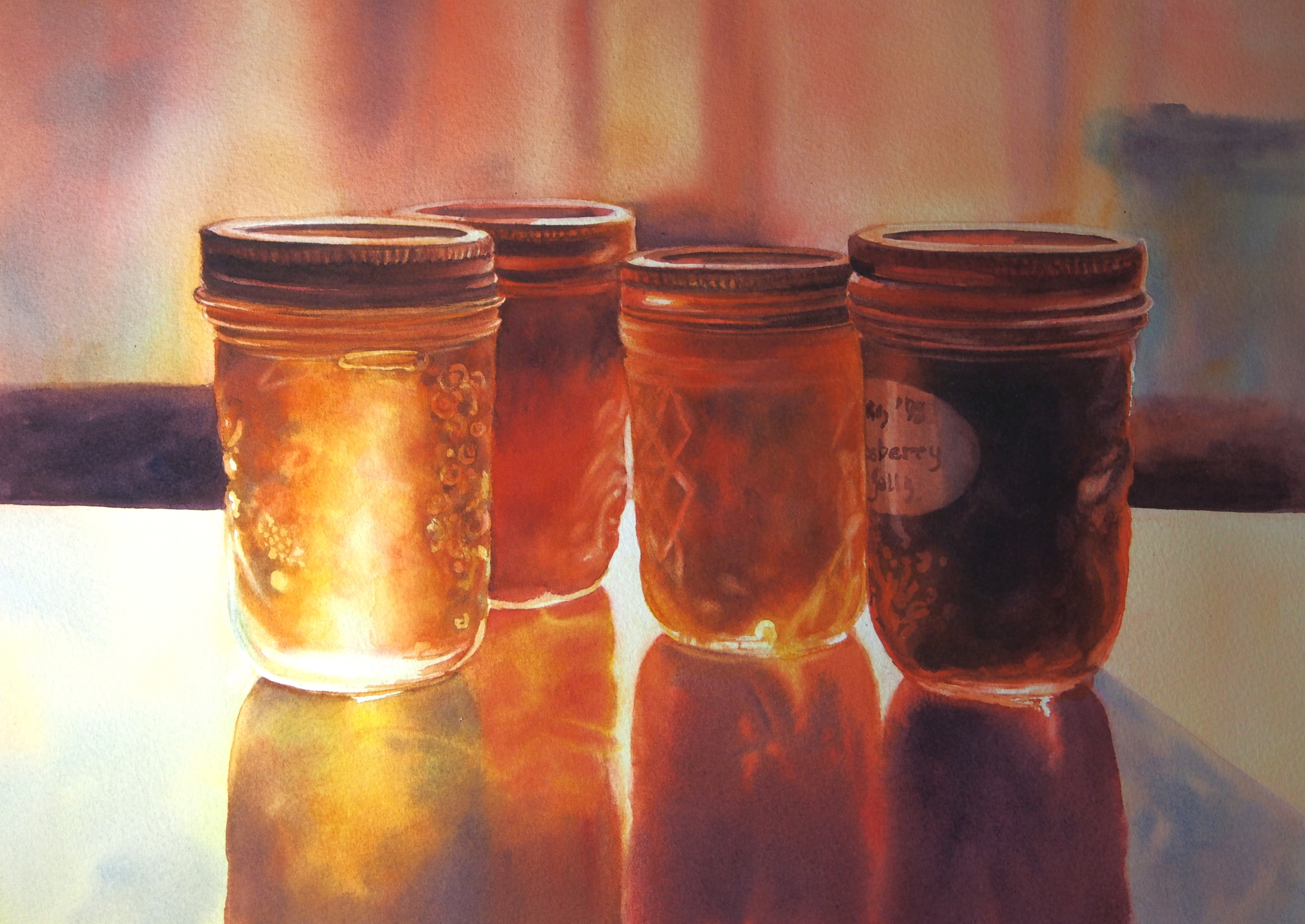 "A reproduction of Mary Pratt's ""Sweets from Zion"", by artist Crystal Beshara (watercolour)"