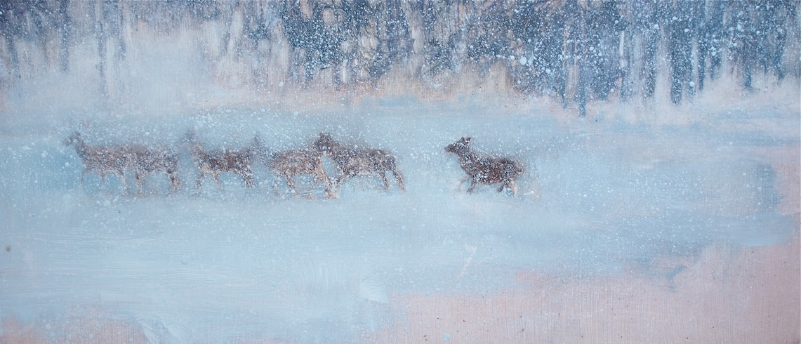 "Breaking Trail (Oil on wood panel 10"" x 20"") SOLD"