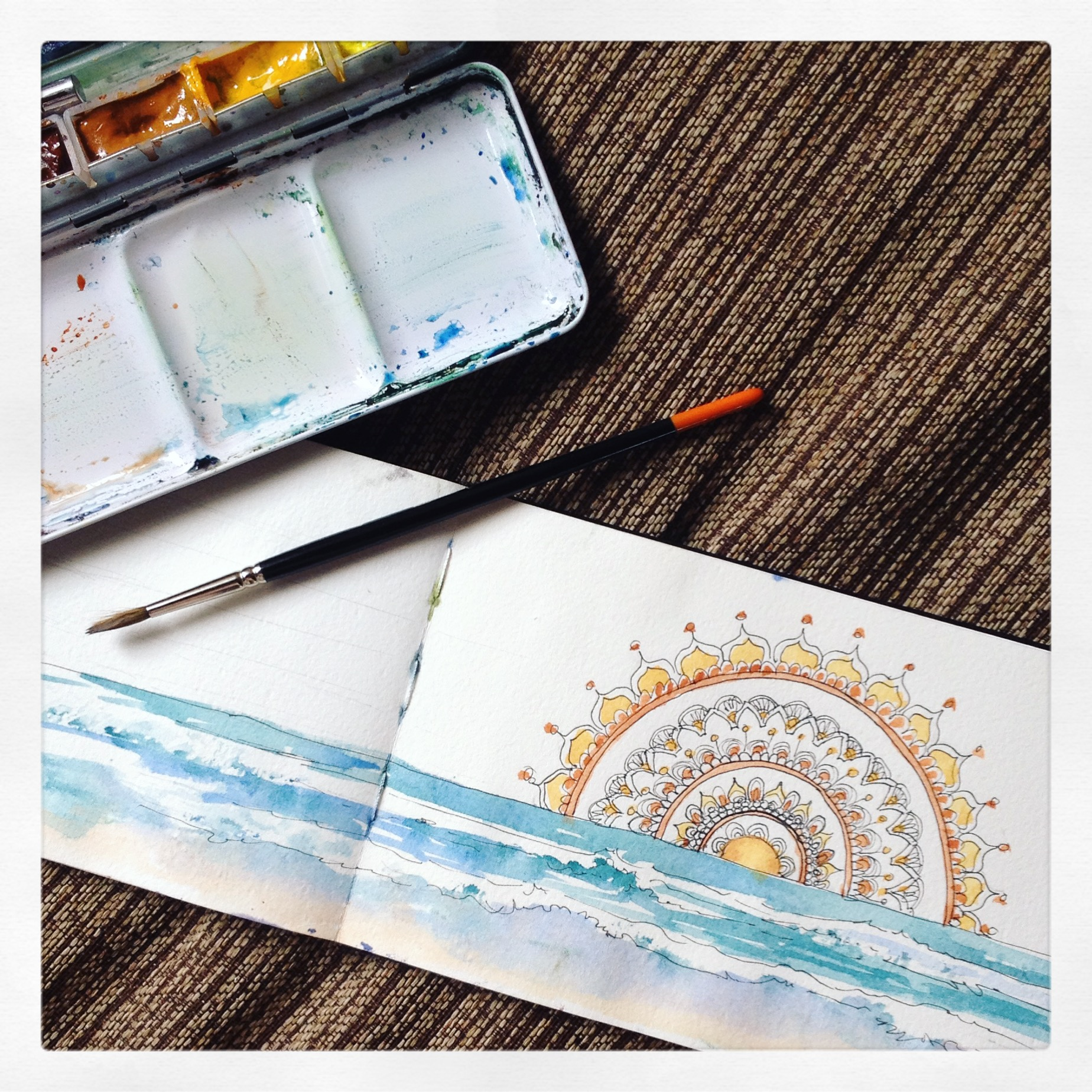 Watercolour Illustration our mural in the Yoga studio rising above our view of the water...