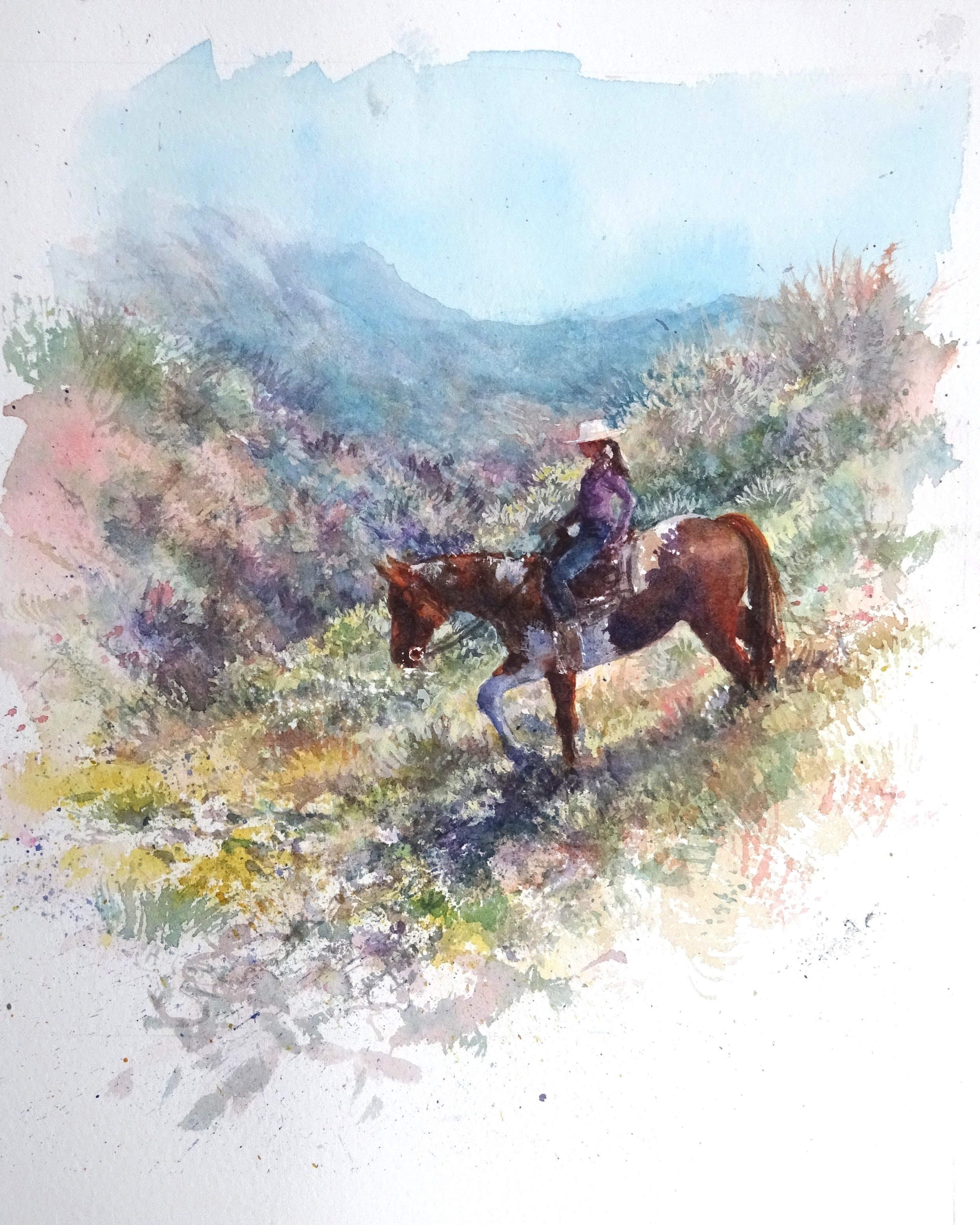 """""""On Trails"""" watercolour 12x16"""