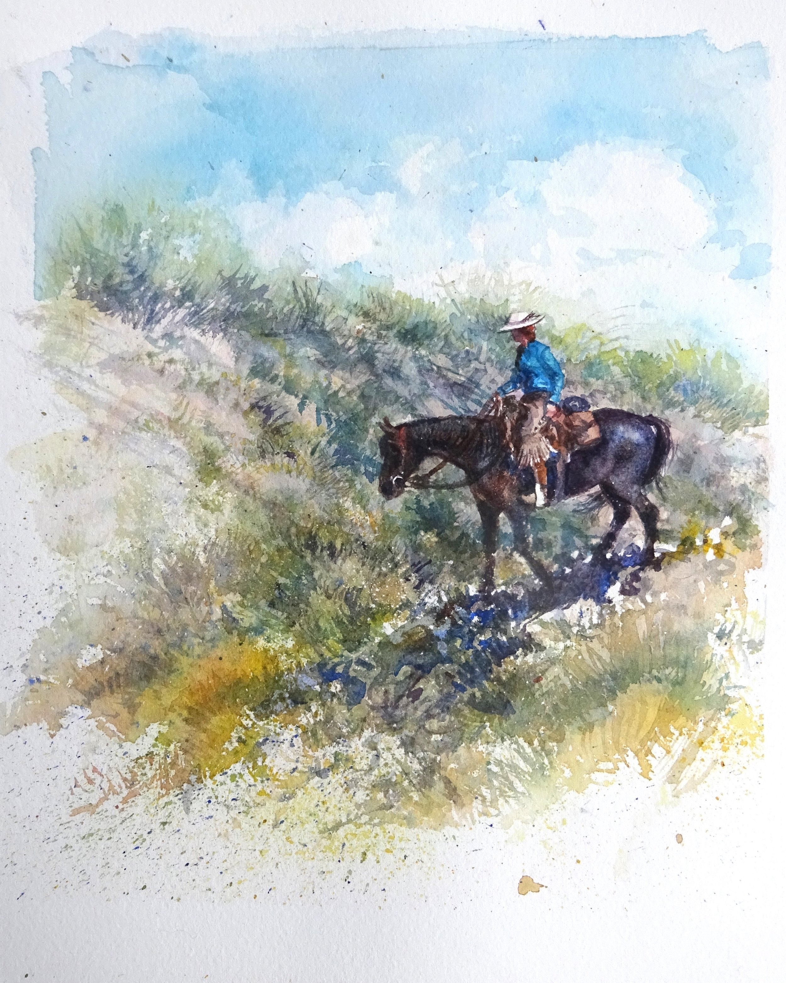 """On Trails II"" watercolour 12x16"