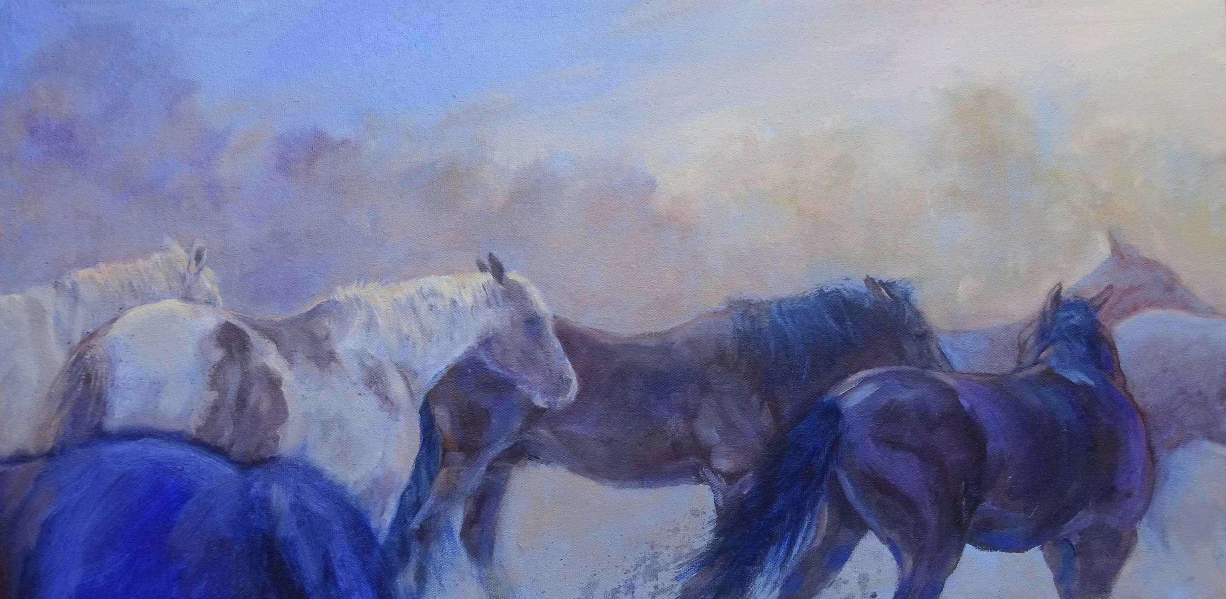 """Jockeying for Position"" 12"" x 24"""