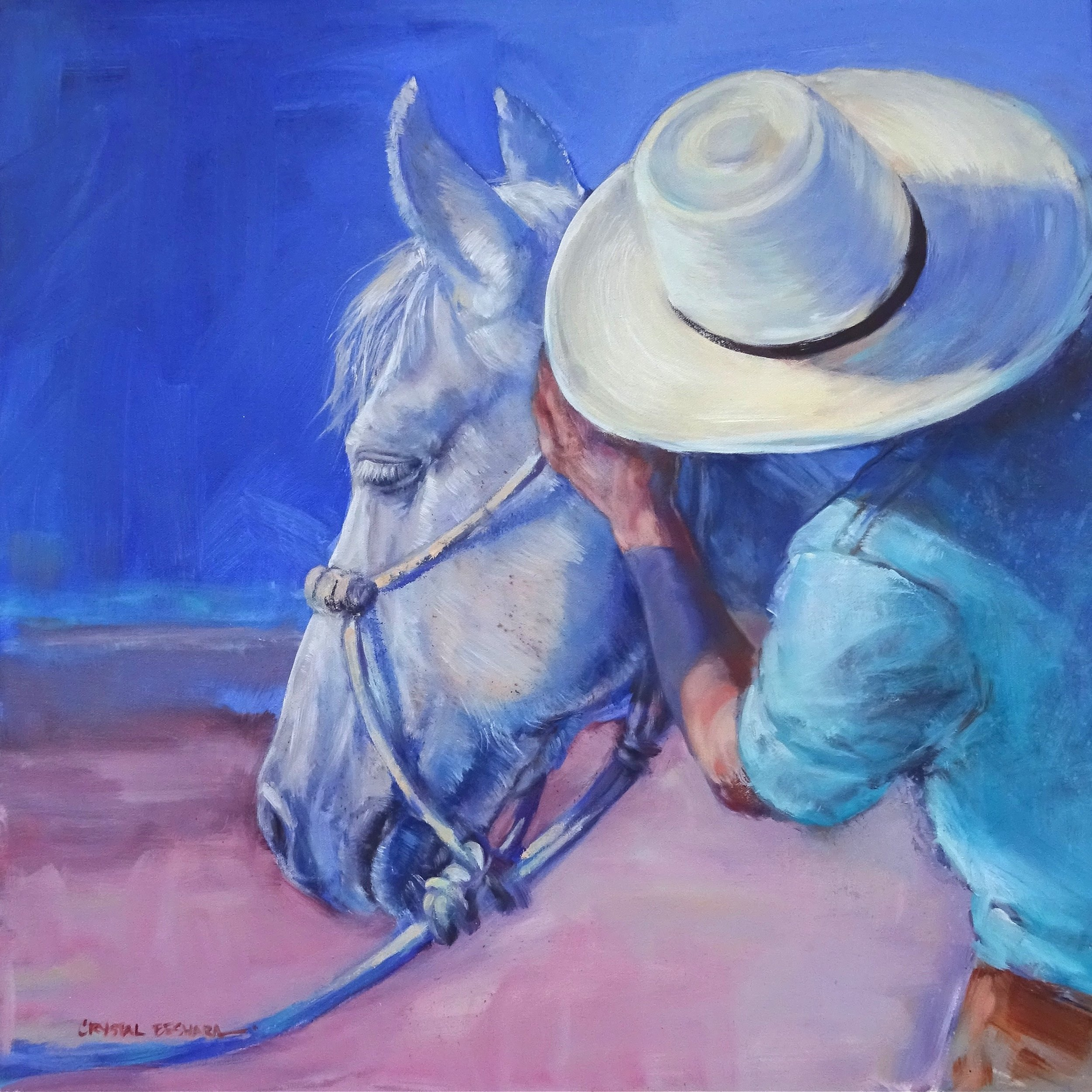 """""""Horse Whispering"""" 24"""" x 24"""" SOLD"""