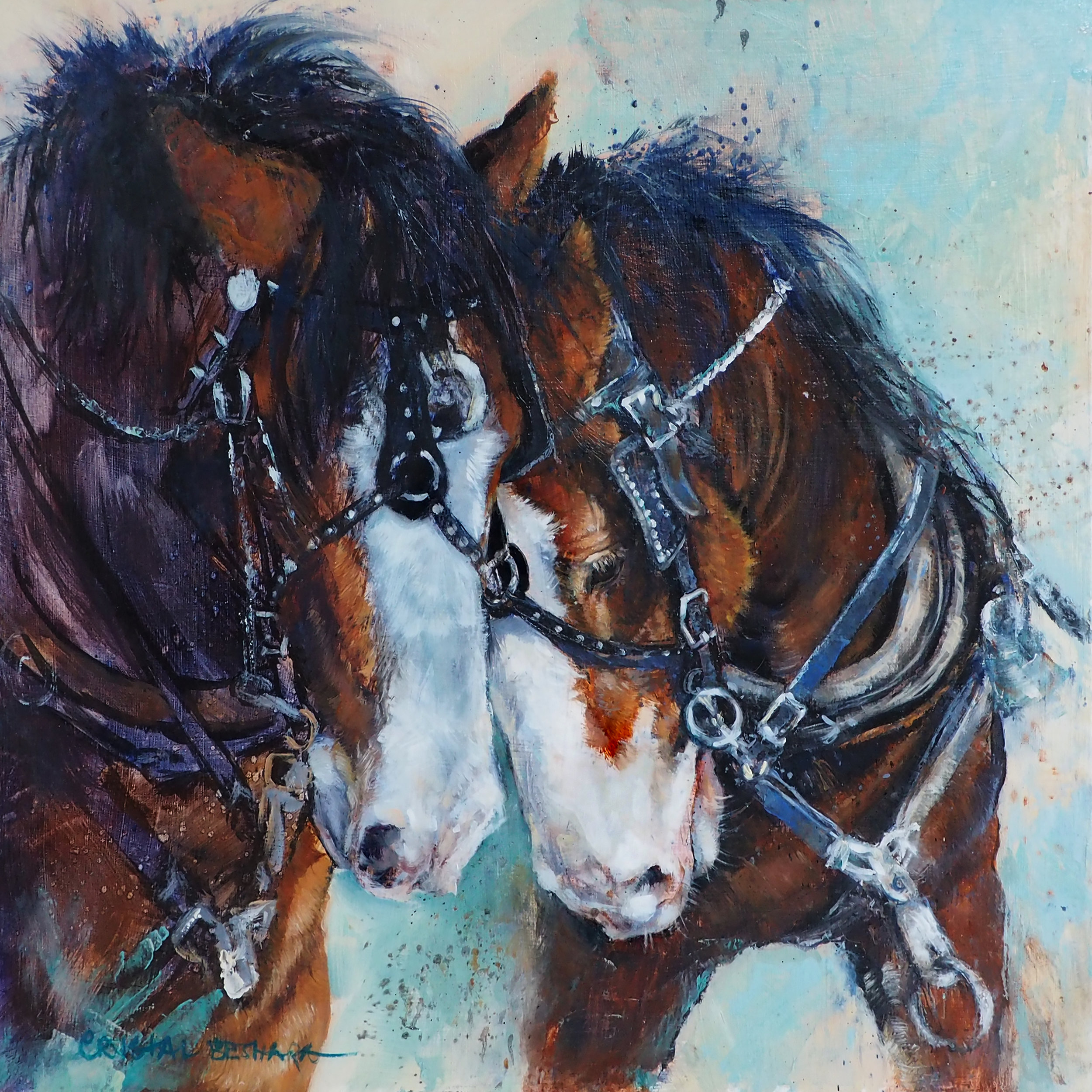 """""""Lean on Me"""" oil on canvas 24"""" x 24"""" ©Crystal Beshara"""