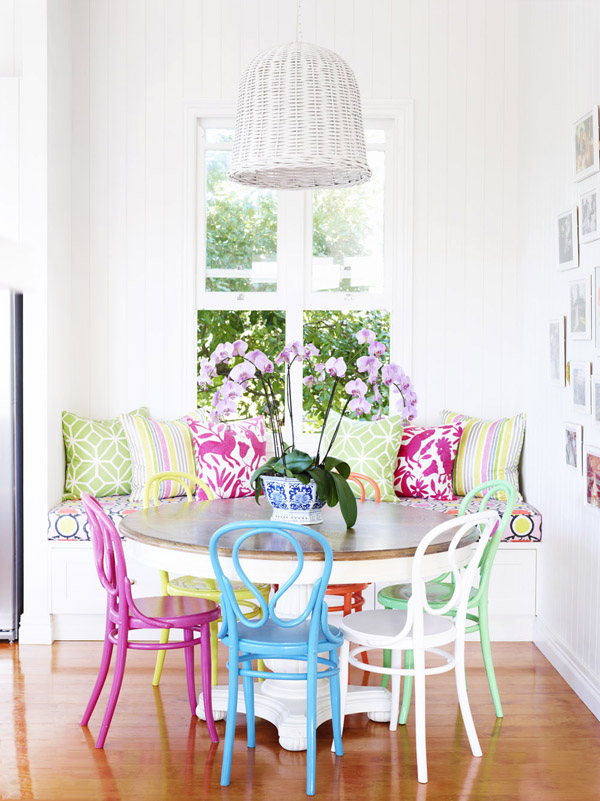 Brightly colored dining nook