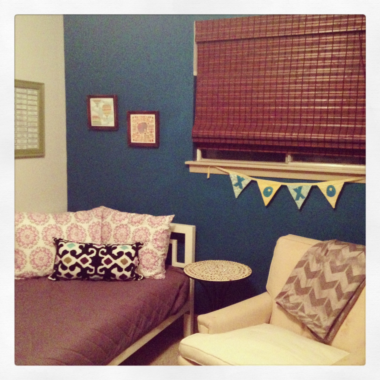 The teal accent wall.And worst iPhone photo (it was nighttime).