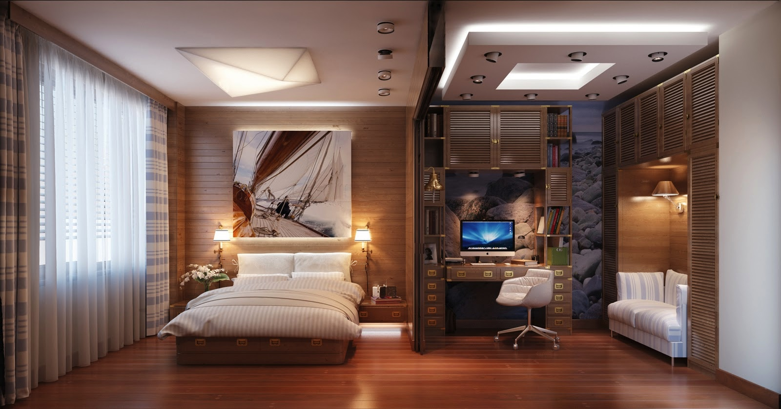 Bedroom Home Office by  Home Designing
