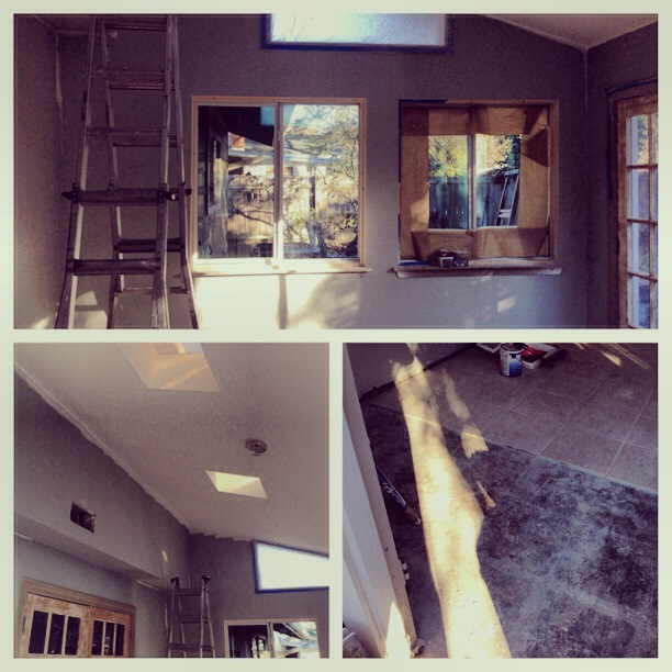 Sunroom, One Month Progress - new windows, popcorn-less and painted ceiling, tile removal, painted walls