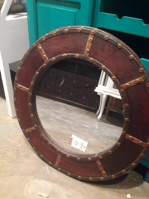 Distressed Round Mirror, $118