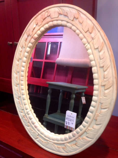 Wooden Oval Mirror, $90 (marked down for a small crack)