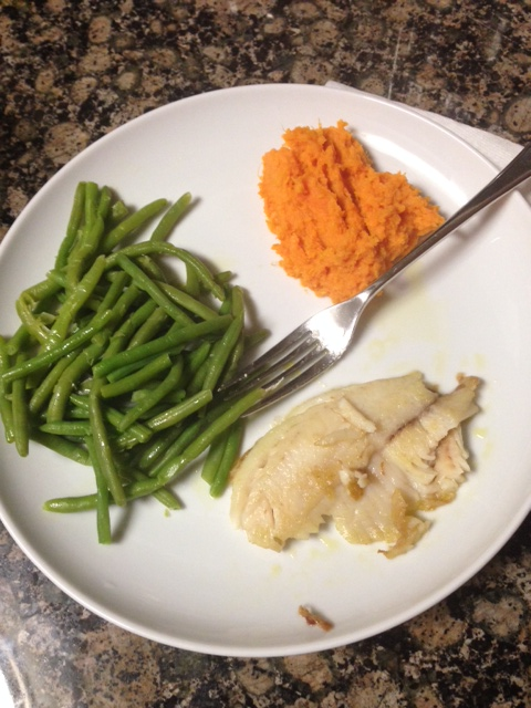 Baked tilapia, steamed green beans and mashed sweet potatoes