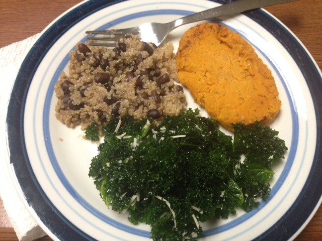 Brown Rice with low-sodium black beans, kale salad tossed in homemade olive oil-garlic-lemon dressing with freshly grated parmesan and a 3-oz sweet potato patty (recipe to follow)