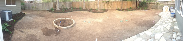 Day Four (post-sprinklers and mulch)