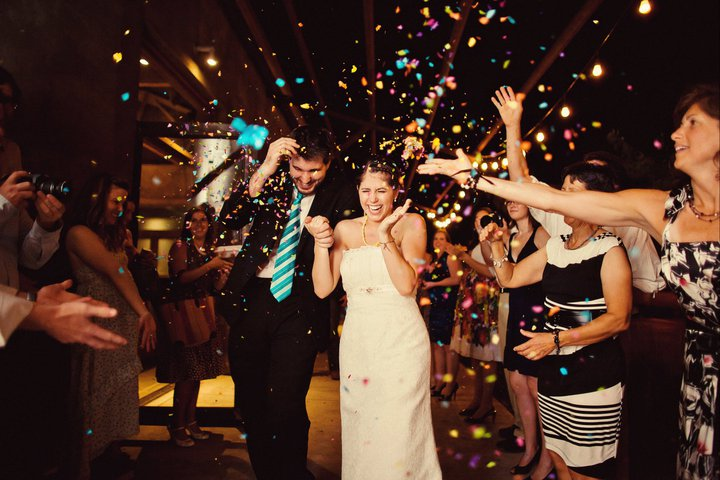 Exiting the reception to confetti eggs