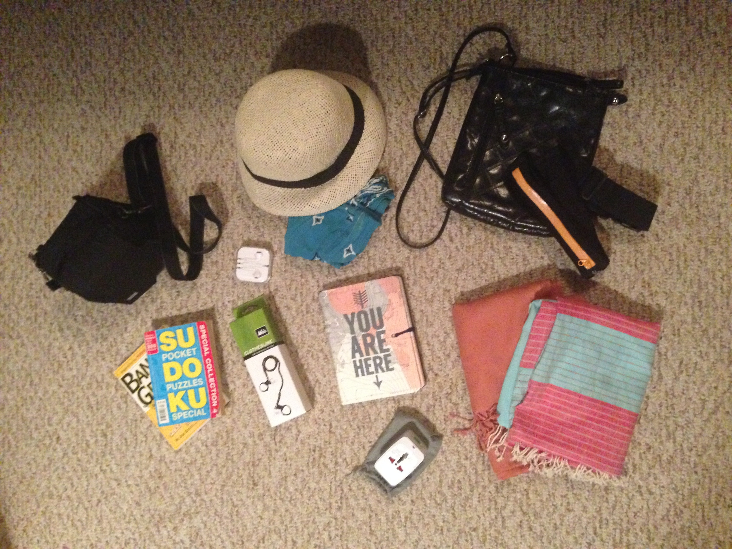 Left to right, top to bottom: Camera in bag (clipped to Keith's backpack during train rides), earbuds, straw hat and bandana, travel purse and money clip (for days I didn't want to wear purse), activity books (only brought one and never used), REI clothing line, travel journal, universal adapter, two scarves. Not pictured: bathing suit I bought in Budapest, red moccasins I wore during train rides or shorter walking days, REI travel bag with bathroom items.