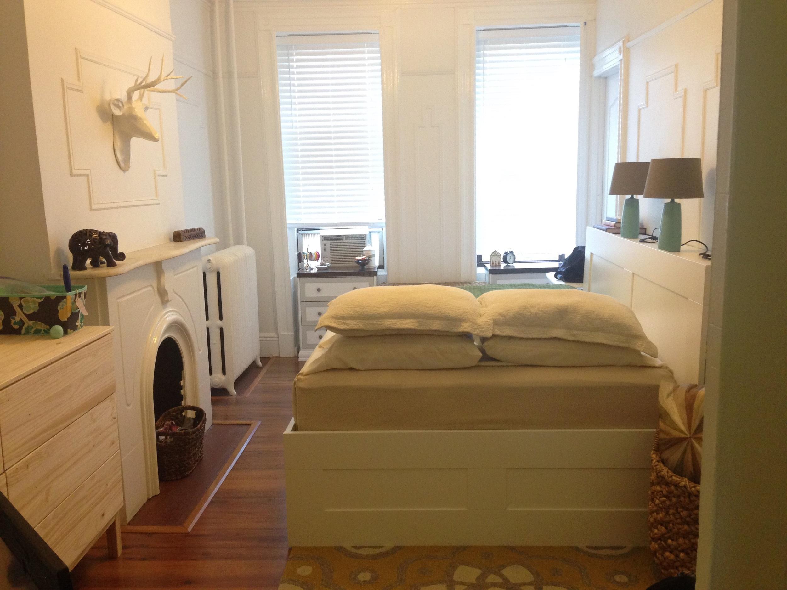 Current state of master bedroom (ignore the unfinished dresser on left side).