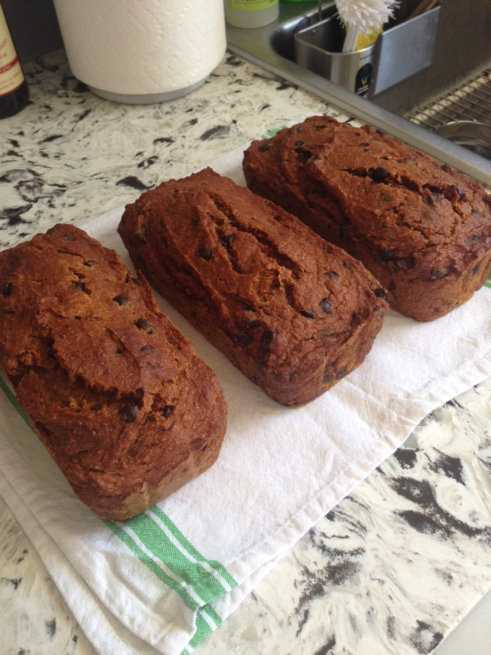 Pumpkin Chocolate Chip Bread - 2 loaves were sliced and frozen, 1 loaf traveled to NH!
