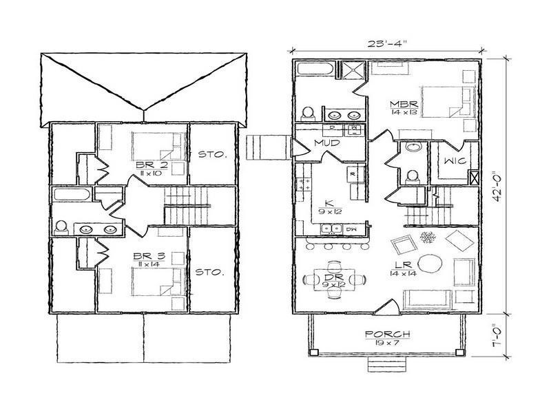 Two-Story Small House Floor Plan by  Dehouss