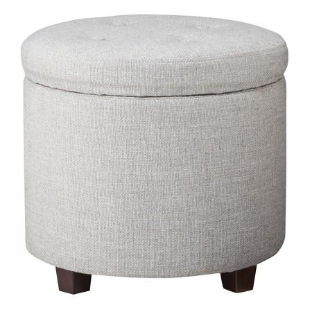 Round Tufted Storage Ottoman  in Gray Textured Weave