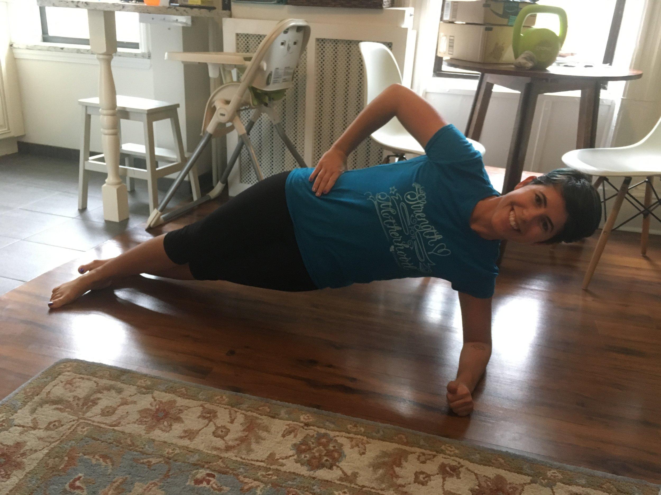 Living Room workout - not where I teach Stroller Strides :-)