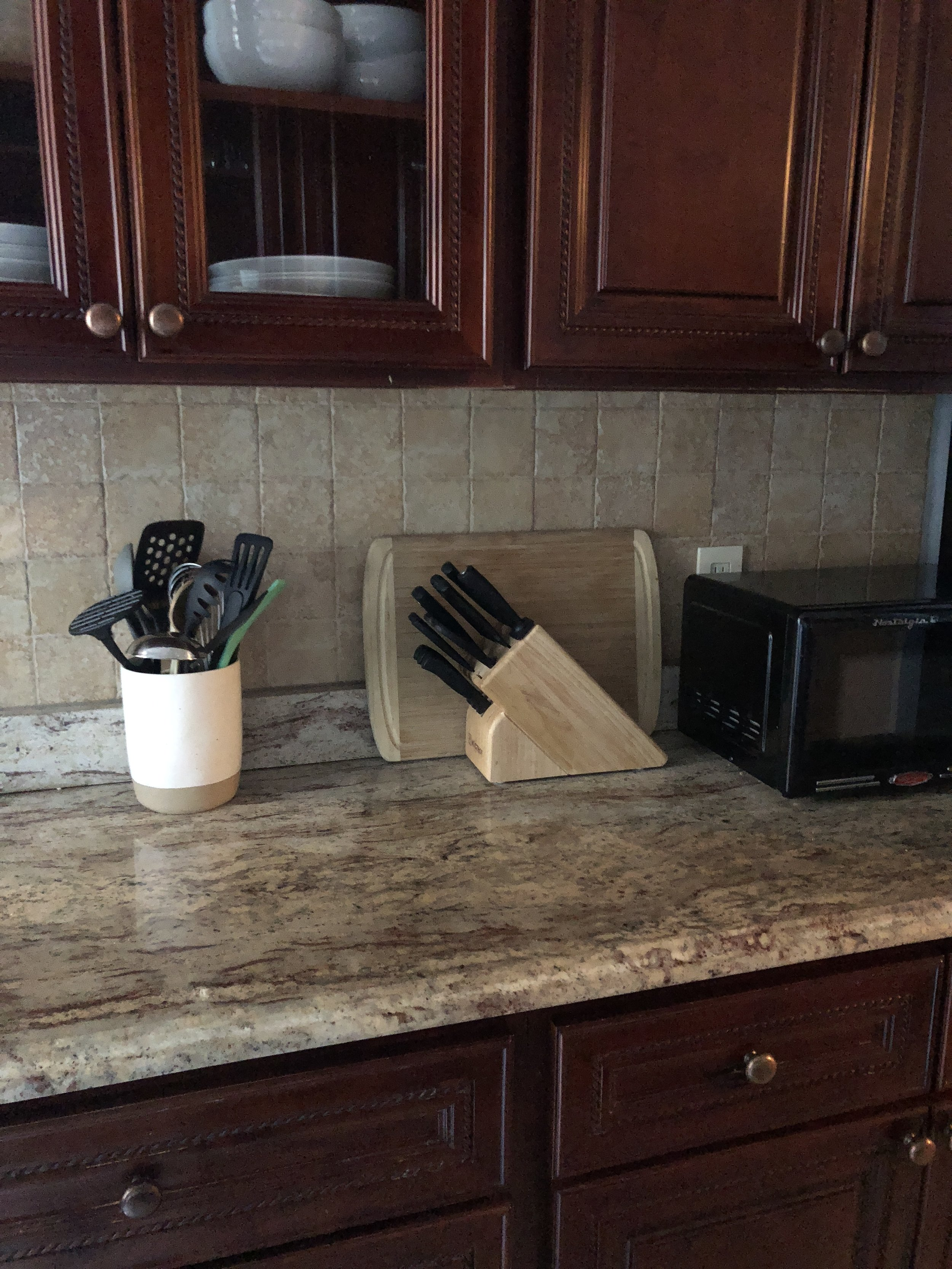 Utensils, cutting boards and microwave