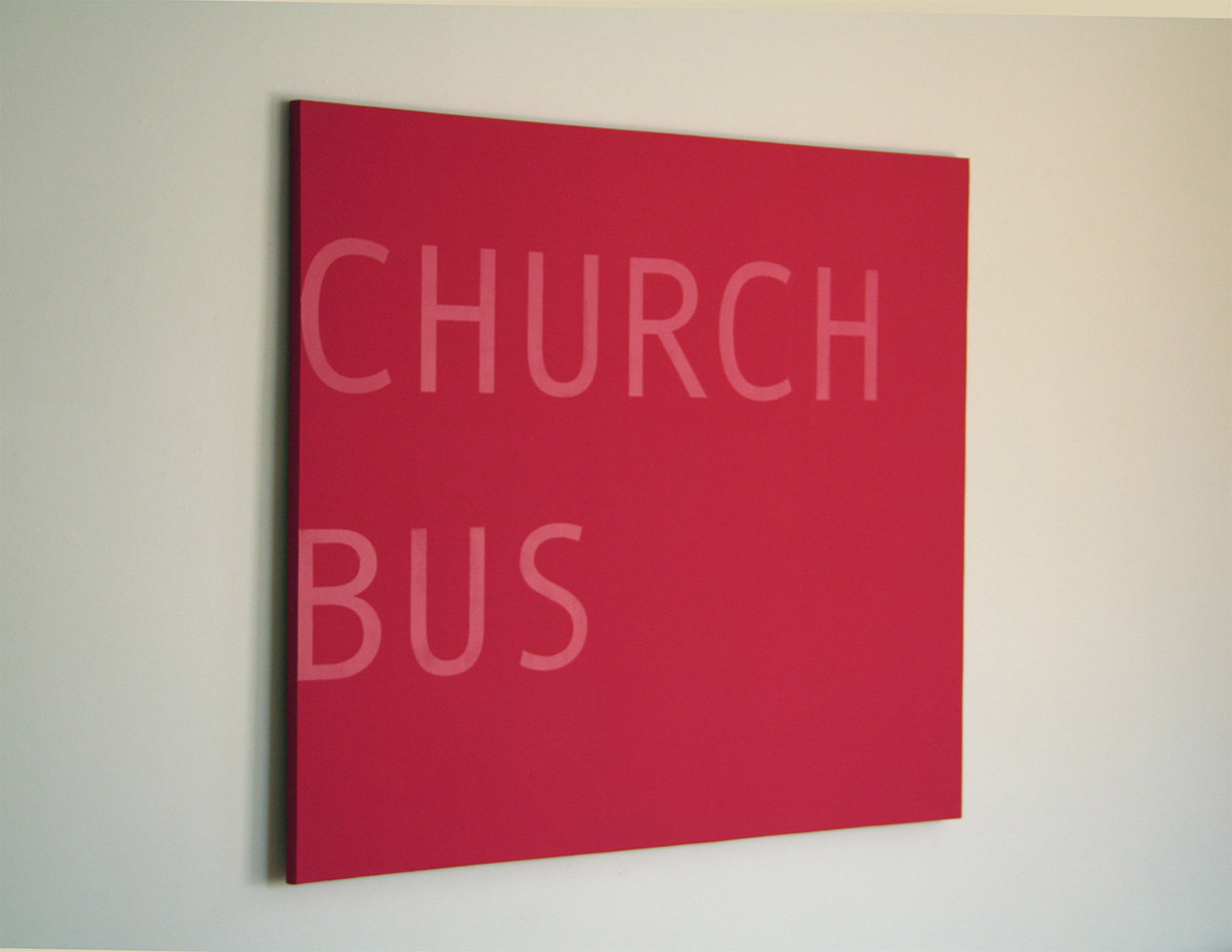 "Church Bus,  2012; acrylic paint on canvas 60"" X 72"""