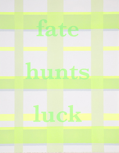 Fate Hunts Luck,  2011; acrylic & silkscreen on Rives paper