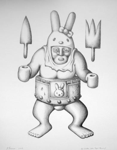 Pre-Columbian Action Figure   graphite on 140lb. watercolor paper; 2010