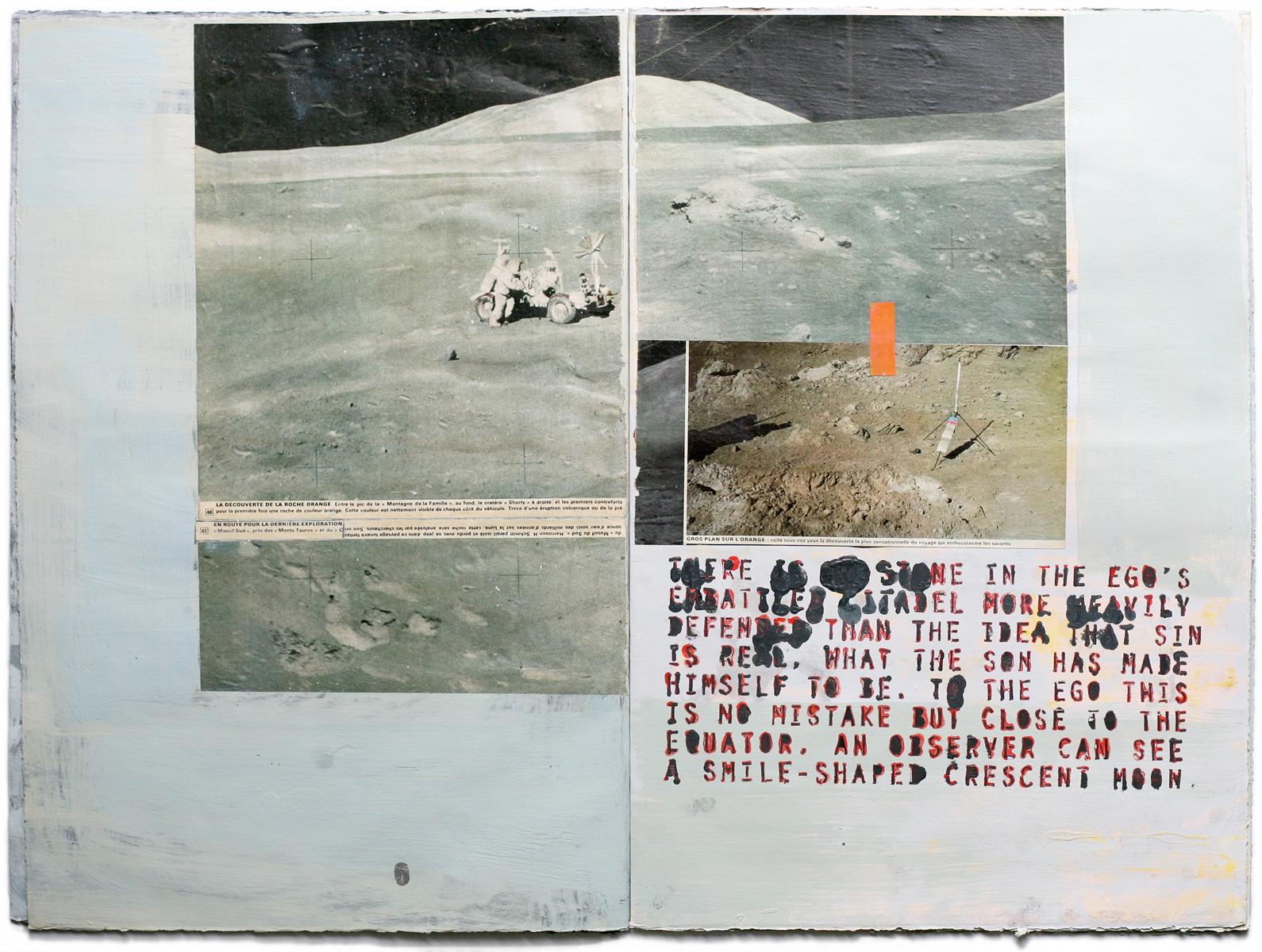 Moon Atlas   handmade, handbound book, mixed media, oil on paper