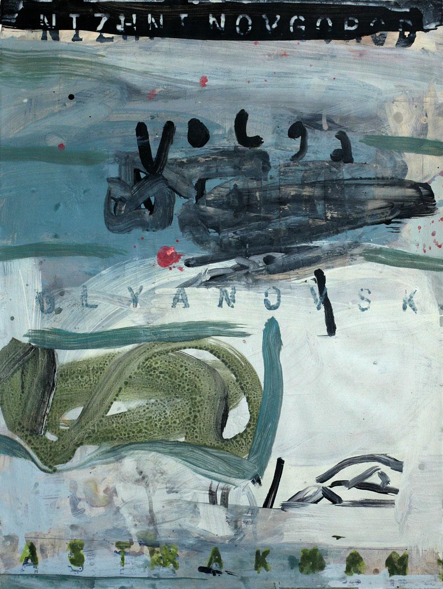 The Volga, 2009; mixed media on paper