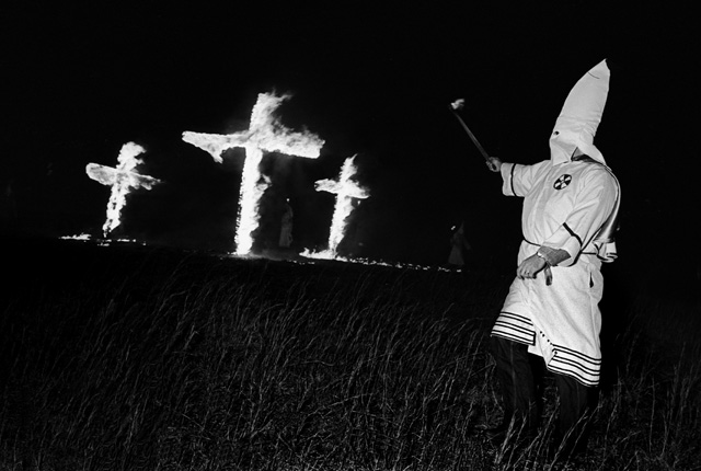 "Cross Burning – Stone Mountain, Ga. 1980, black and white photography; edition 35, 11"" x 15"""