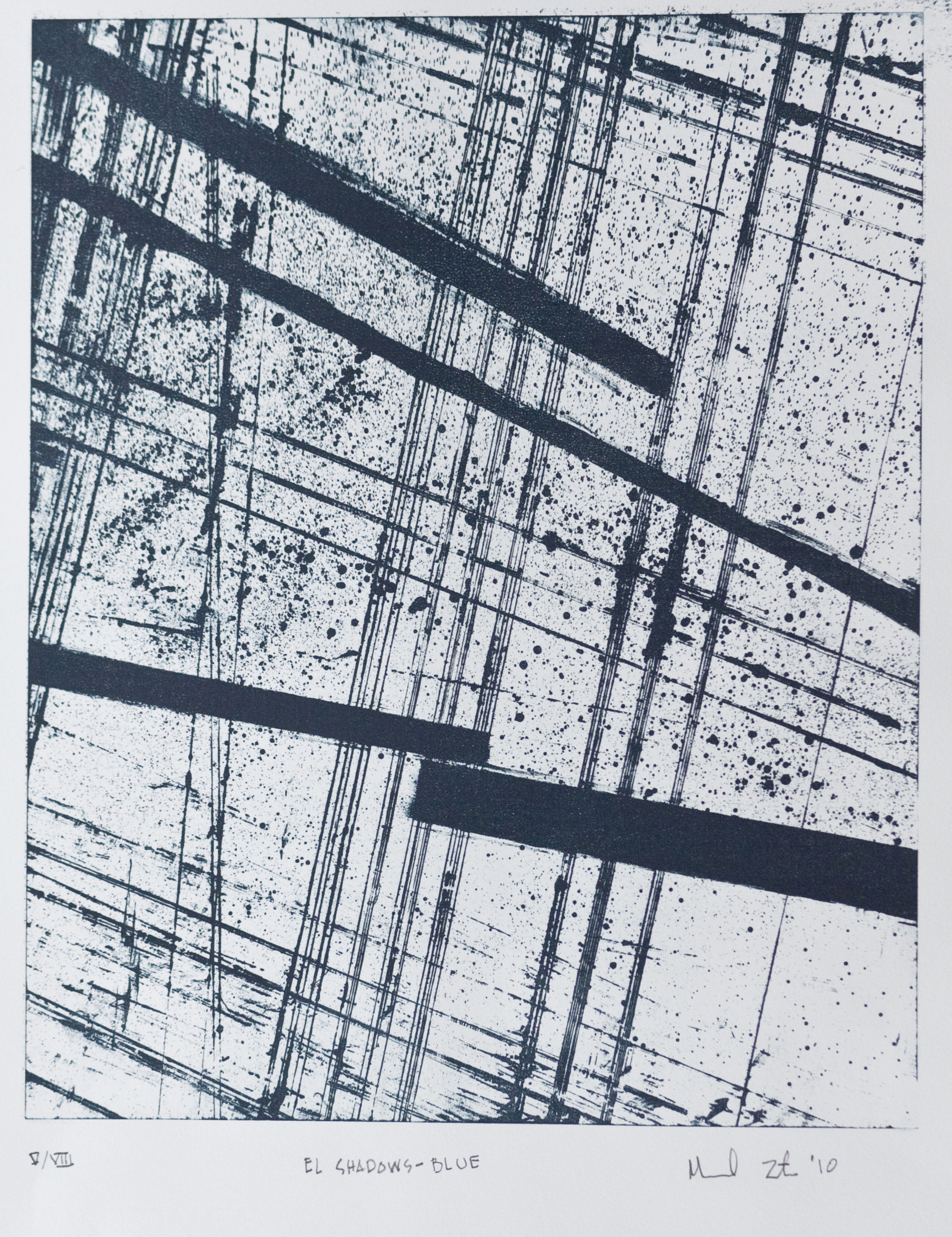 El Shadows, Blue   lithograph on Rives BFK Arches Printing paper