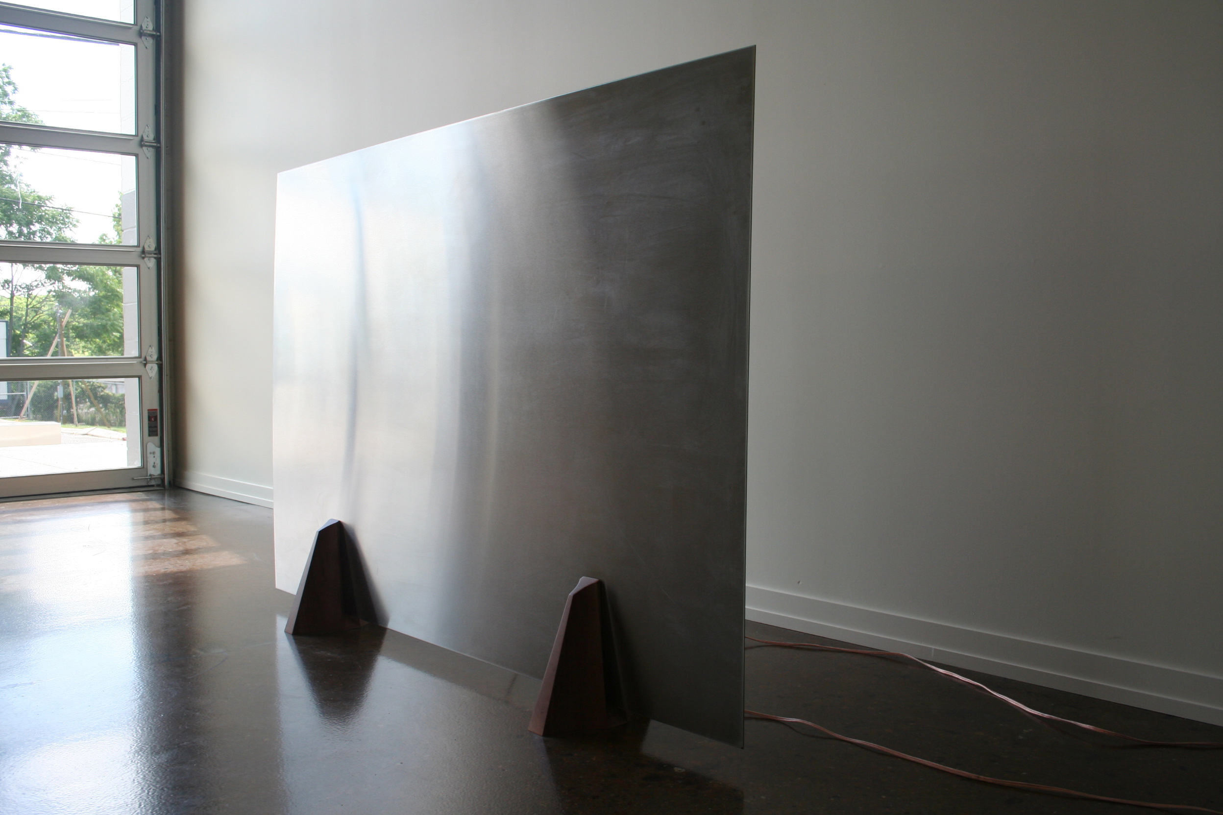 Greg Pond, Phonotactic Plate  2013, collaboration with Jesse Thompson, wood, stainless steel, electronics, software, sound
