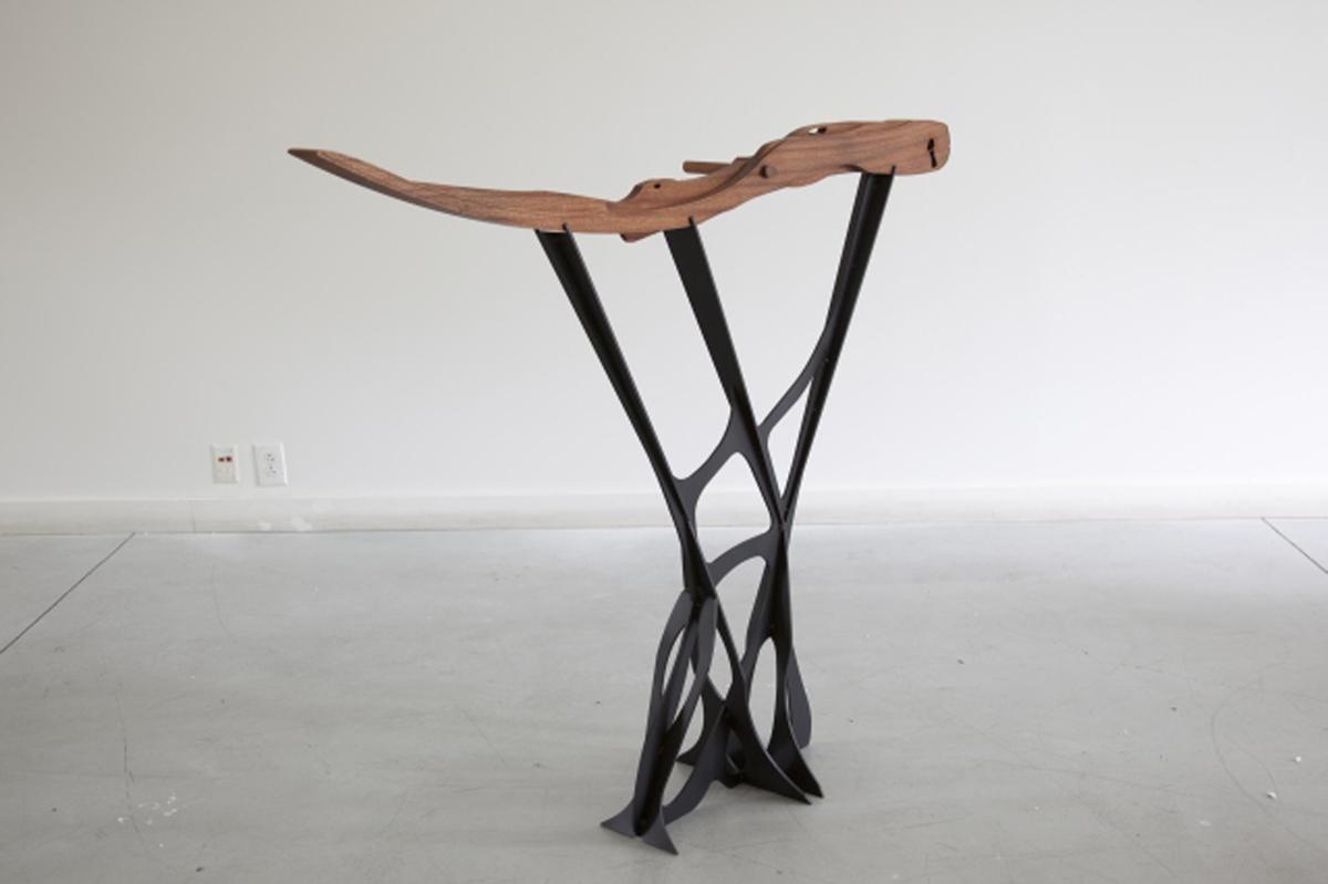 Greg Pond, Sled  2011, CNC milled Sappelle wood, laser cut steel, enamel