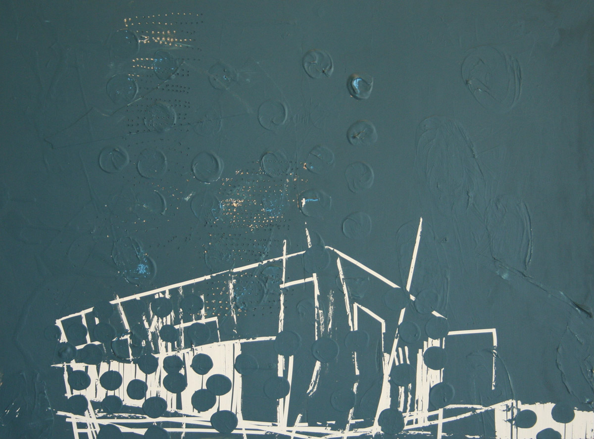 Lain York, Public Space- club house exploded view  2011, mixed media on panel