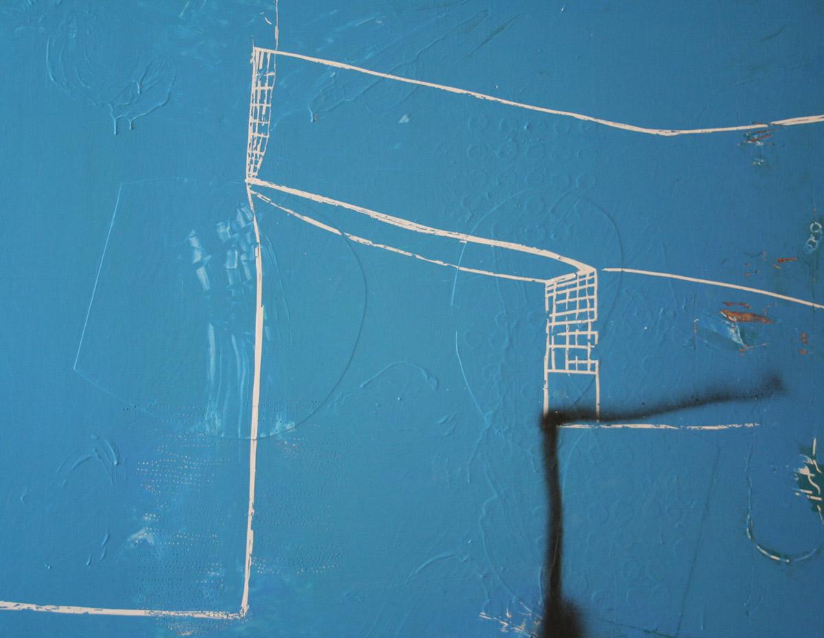 Lain York, Architectronix  2011, mixed media on birch panel