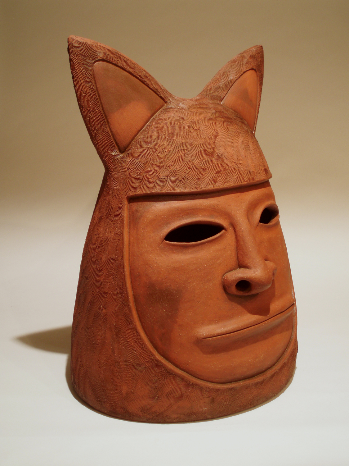 Colossal Kitty head   pit-fired terra cotta, 2009