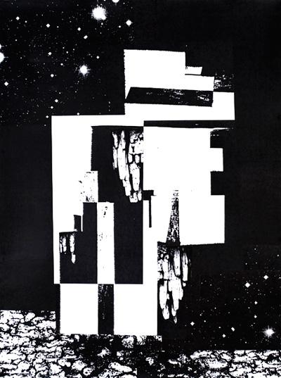 """Reuben Lorch-Miller, Ghostship   2010, collaged photocopies, 24 x 18"""""""