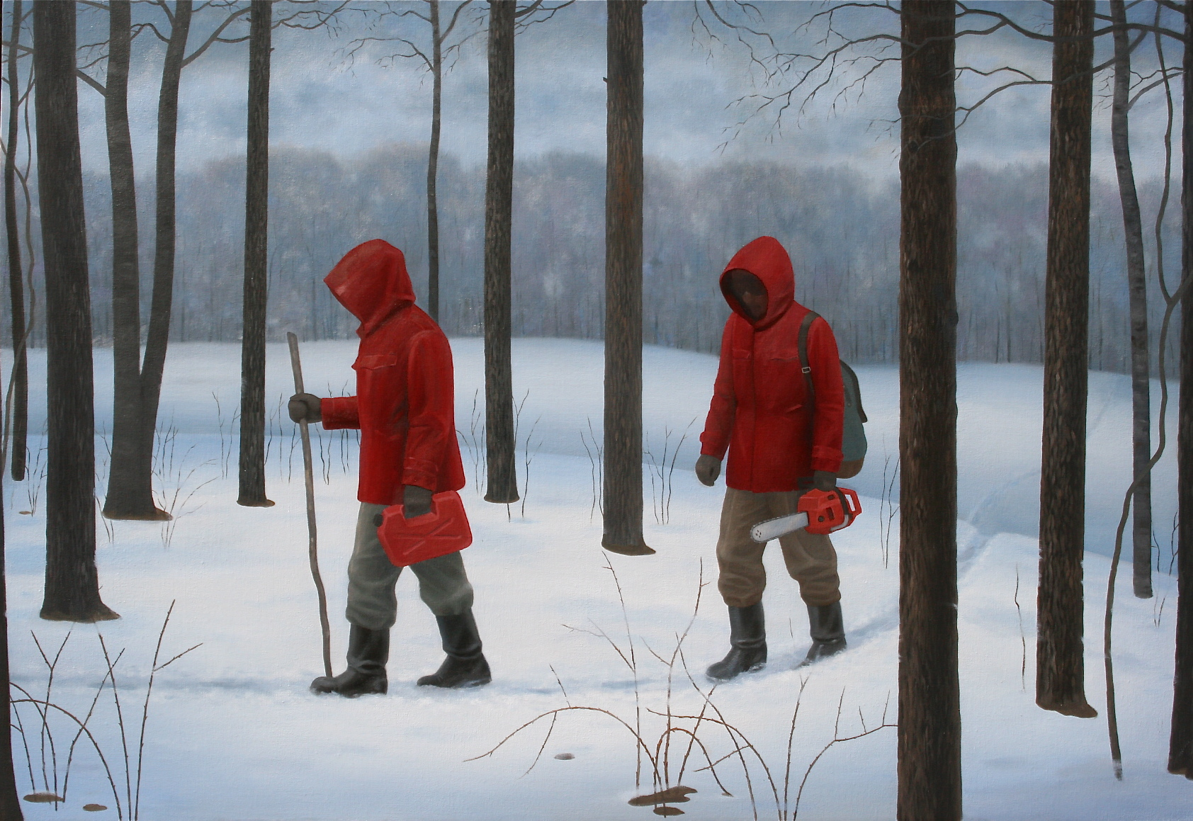 "Woodsmen, 2013, oil on canvas, 35""x51"""