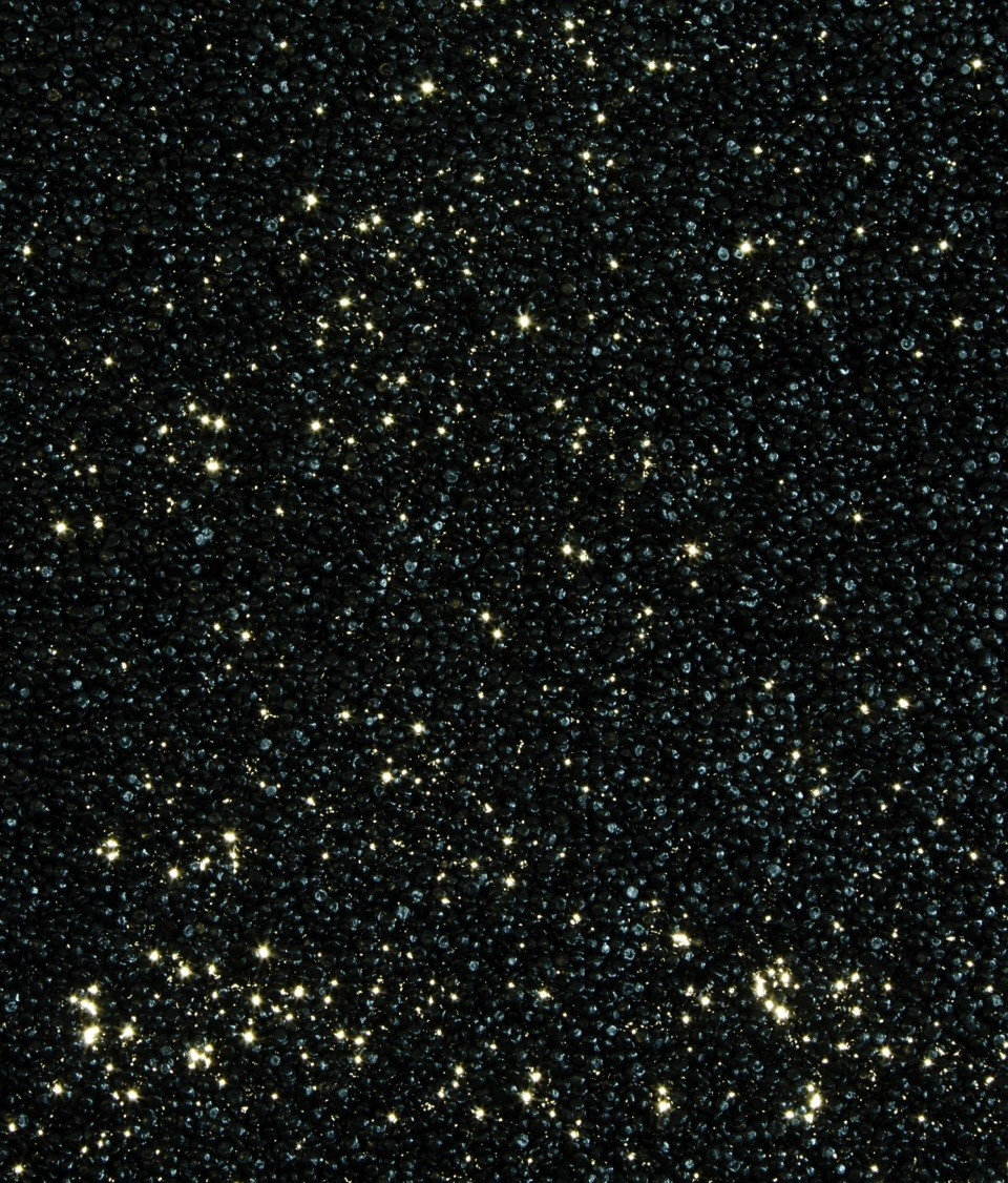 "Close Up, My God, It's Full of Stars, vinyl pellets on lightbox, 36""x66"", 2014"