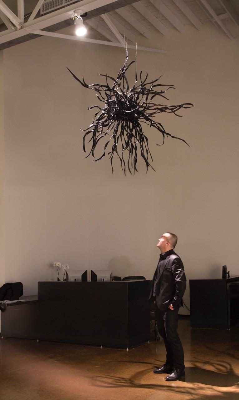 Installation, Dark Star, black record vinyl, 6'x6'x6', 2014