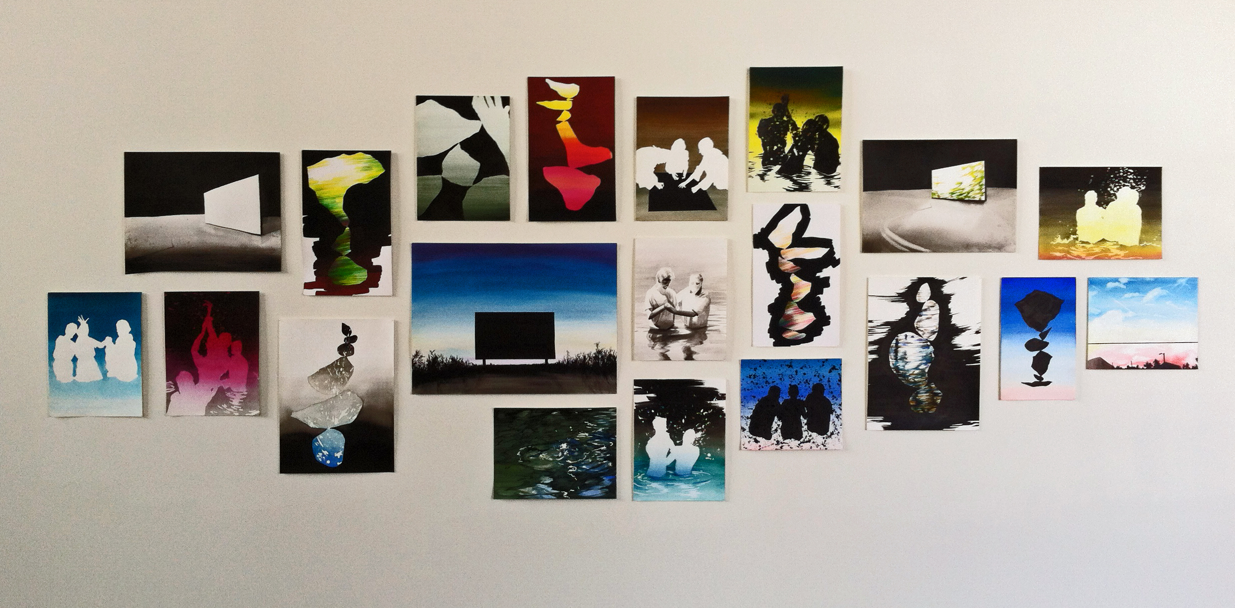 Studio Wall, 2014, oil on paper, sizes vary